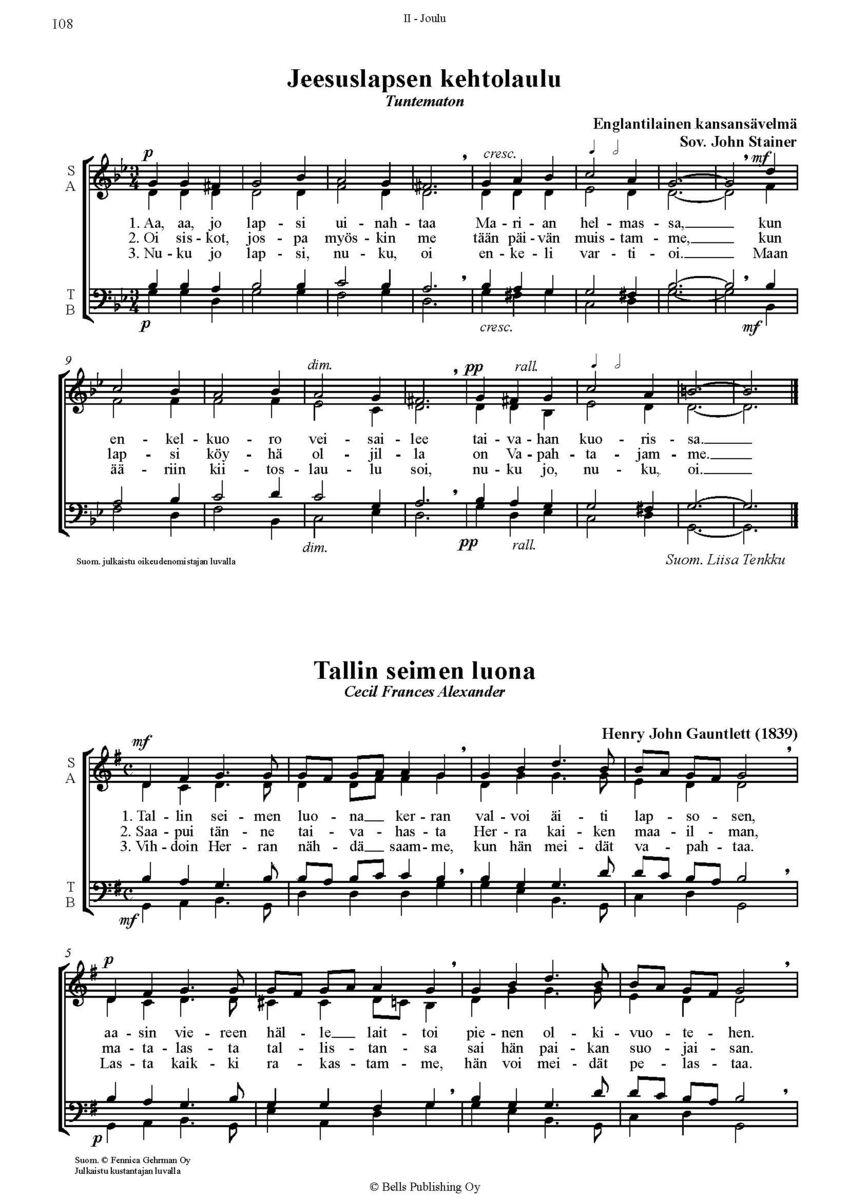 Joululaulu Nuotit