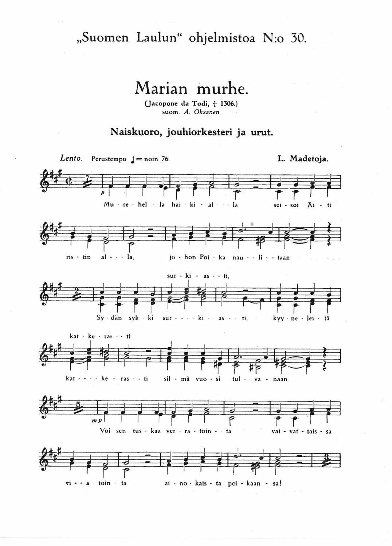 Madetoja, Leevi: Marian murhe, Op. 27 No. 2 (kuoropartituuri) | Bells verkkokauppa